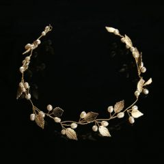 """Bridal Wedding Hair Piece, Gold Colour with Leaves & Faux Pearls """"Marleen"""""""