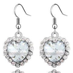"Dangle Heart 3 Carat CZ Cubic Zirconias Earrings ""Miranda"""