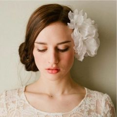 Large WHITE Satin Hair or Wrist Flower with Clip and Elastic