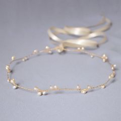 "Bridal Hair Accessory Gold plated Vine Wire Pearls ""Katriona"""