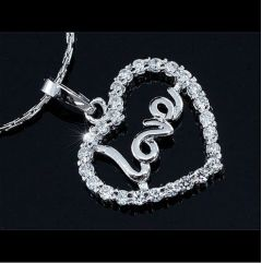 "Silver Plated Love Heart Necklace with Swarovski Crystals ""Linette"""