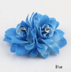 Pretty Twin Hair Flower Clip in Turquoise - Blue
