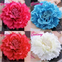 "Hair Flower, Broach, Clip in White, Red, Fuchsia or Blue ""Candi"""