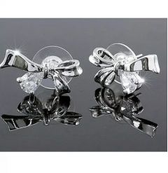 "Beautiful Silver Plated Swarovski Crystal Bow Earrings ""Aimee"""