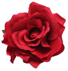 "Red Rose Hair Flower, Broach, Clip ""Polyantha"""
