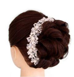 "Bridal Wedding Hair Accessory, Decoration Handmade with Faux Pearls & Crystals ""Belinda"""