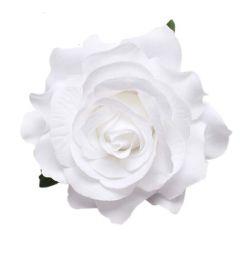 "White Hair Flower, Broach, Clip ""Polyantha"""