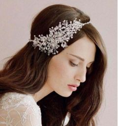 "Bridal Hair Accessorie Silver with Clear Crystals ""Rosseden"""