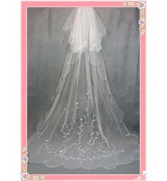 2 tier chapel/Cathedral Long Trailing Wedding Veil