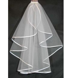 1 tier Waist length bridal veil with Satin Edges