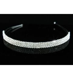 Silver Plated 3 Row Clear Crystal Bridal Headband