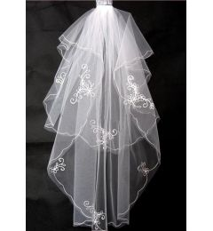 2 tier Waist length bridal veil with Embroidery & Rhinestones
