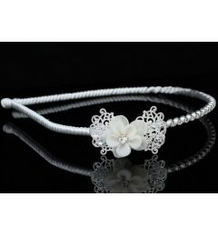 Headband with Porcelain & Silver Plated Flower For Bride - Bridesmaid