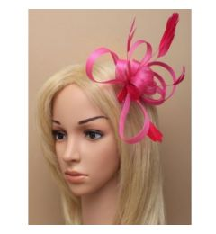 "Fuchsia Headband Coiled Feather Fascinator, for Wedding, Special Event ""Maisy"""