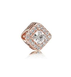 "Genuine Pandora 925 Rose Gold ""Square Sparkle Halo Charm"""
