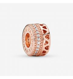"Genuine Pandora 925 Rose Gold ""Openwork Hearts Spacer Charm"""