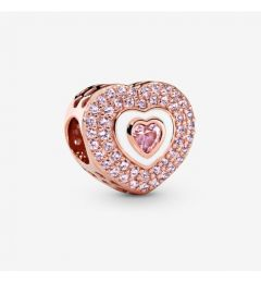 "Genuine Pandora 925 Rose Gold ""Pink Pavé Heart Charm"""