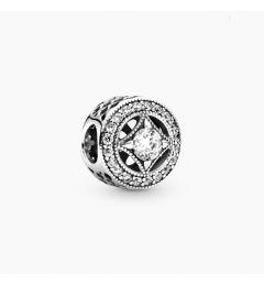 "Genuine Pandora 925 Sterling Silver Charm ""Vintage Circle Charm"""