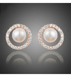 "Rose Gold Pearl and Crystal Bridal Earrings ""Anaya"""