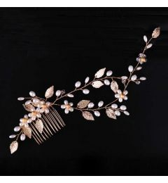 "Pretty Bridal Gold Plated Comb with Delicate Gold Leaves Pearls and Beads ""Evelyn""Pretty Bridal Gold Plated Comb with Delicate Gold Leaves Pearls and Beads ""Evelyn"""