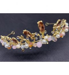 "Unique Tiara in Gold and Coral Pink Crystals and Pearls ""Theodora""."
