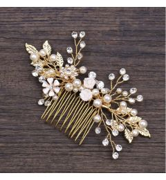 "Wedding Handmade Ceramic Flower Crystal and Pearl Hair Comb ""Kelly"""