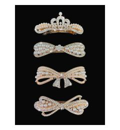 "Pearl and Crystal Hair Clips - Hair Accessories ""Liloudes"""