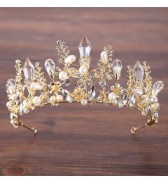 "Stunning Gold Plated Resin Quartz Crystal Bridal, Show, Crown ""Margo"""