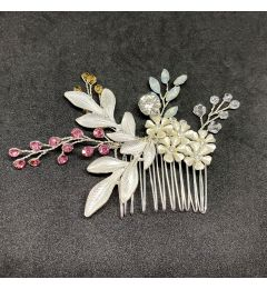 "Unique Crystals Hair Comb in Silver, Pink and Amber ""Perda"""