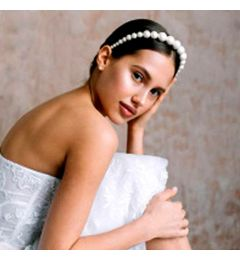 "Faux Large Pearl Headband for Bride, Bridesmaid, Special Occasion ""Soti"""