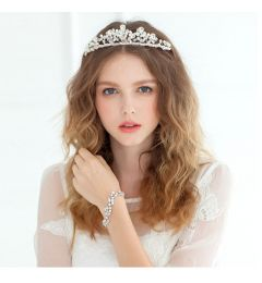 "Gorgeous Silver Plated Crystal, Pearl Bridal Tiara ""Topaz"""