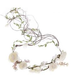 "Bridesmaid Garland, Bohemia Crown, Ivory with Flowers and Leaves ""Nova"""