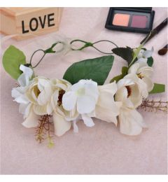 "Bridesmaid Garland, Bohemia Crown, Ivory with Flowers and Leaves ""Luna"""