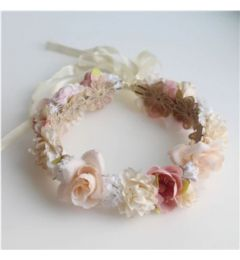 "Bridesmaid Garland, Bohemia Crown, with Flowers in Ivory, Peach, Pink  ""Posie"""