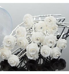 "Set of 6 Pretty White Resin Flower Hair Pins ""Amy-Beth"""