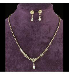 "Bridal Jewellery Set Gold Crystal Necklace & Earrings ""Serran"""