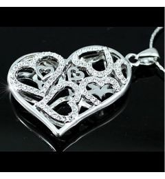 "White Gold Plated Heart Necklace with Swarovski Crystals ""Irini"""