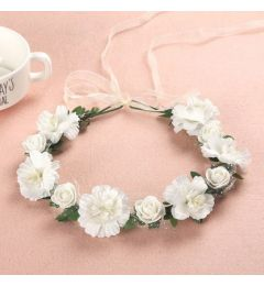 "Garland, White with Flowers and Leaves for Bridesmaid ""Esme"""