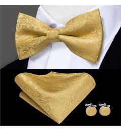 Bow Tie, Cuff Links, Kerchief Set 100% Silk Men's in Mustard