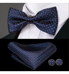 Bow Tie, Cuff Links, Kerchief Set 100% Silk Men's Navy