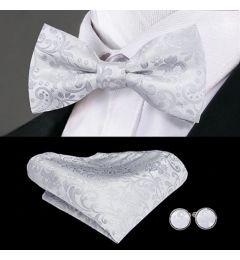 Bow Tie, Cuff Links, Kerchief Set 100% Silk Men's in Silver Grey