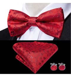 Bow Tie, Cuff Links, Kerchief Set 100% Silk Men's Red