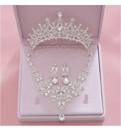 "Gorgeous Silver Plated Crystal Bridal Tiara Earrings Necklace 3 Piece Set ""Calliope"""