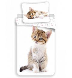 Tabby Kitten White Single Cotton Duvet Cover Set