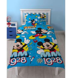 Mickey Mouse Single Reversible Duvet Cover And Pillowcase Set