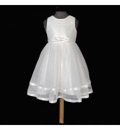 """Παιδικό Φόρεμα σε Λευκό Σατέν και Τούλι με Μαργαριτάρια """"Sophia"""""""