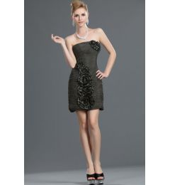 Charcoal Dark Grey - Black Beaded Cocktail Dress
