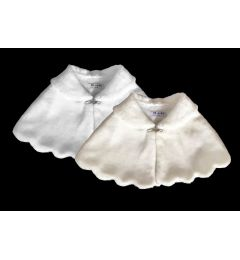 Girl's Faux Fur Bolero, Shrug, Cape in WHITE or IVORY