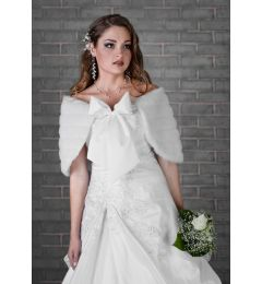 Bolero, Bridal Jacket, Cape, Faux Fur in White