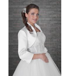 Satin Long Sleeve, Bridal Jacket, Bolero, Ivory or White